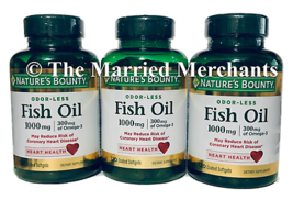 (3) Nature's Bounty Odor-Less Fish Oil 1000 mg 120 softgels each 6/2021+... - $23.99