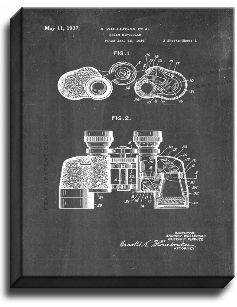 Primary image for Prism Binocular Patent Print Chalkboard on Canvas