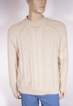 Polo Ralph Lauren Men Natural Linen Heavy Cableknit Crewneck Pull Over Sweater M - $87.99