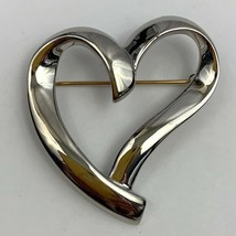 Vintage Silver Tone Open Heart Brooch Pin Shiny Abstract Signed - $19.75