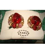 VINTAGE KARU SIGNED CLIP-ON EARRINGS GOLD TRIM RED PINK BEADS ON ORIGIAL... - $14.99