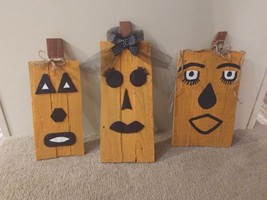 A trio of wooden rustic fall pumpkins.  Brand new with tags.  Indoor or ... - £21.65 GBP