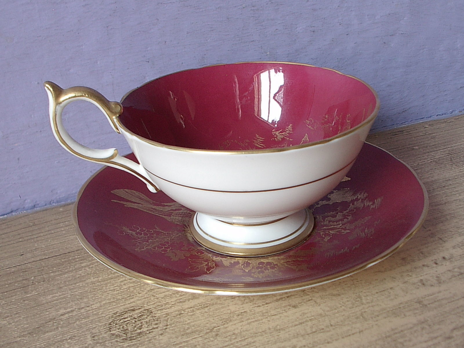 RARE Vintage 1950's Aynsley English bone china red and gold birds tea cup teacup image 5