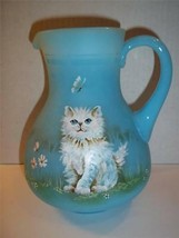 Fenton Glass Sky Blue WHITE PERSIAN CAT KITTEN PITCHER LE #16/17 GSE JK ... - $315.25
