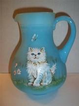 Fenton Glass Sky Blue White Persian Cat Kitten Pitcher Le #16/17 Gse Jk Spindler - $315.25