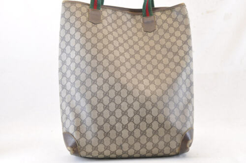 Gucci Sherry Linea Gg Borsa Tote in Tela Marrone PVC in pelle Auth 4678