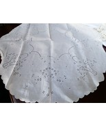 "VTG Tablecloth Centerpiece White Cotton round cut out Victorian basket 34""  - $23.76"