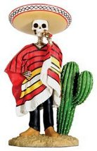 Dod Bandito Mexican Bandit with Cigar Skeleton Outlaw Sculpture - $19.99