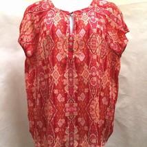 Liz Claiborne Plus Size 2X Top Orange Pink Paisley Semi Sheer Vibrant Ca... - $23.50