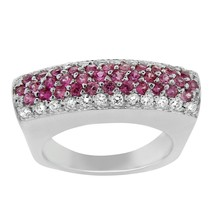ESTATE 18K WHITE GOLD DIAMOND AND PINK SAPPHIRE COCKTAIL RING SIZE 6 - £653.79 GBP