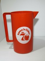 """VINTAGE PLASTIC Seven and Cider Red Pitcher 9"""" Tall Rare - $18.76"""