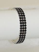 Black Rhinestone Three Row Silver Tone Stretch Bracelet Prom Wedding - $18.70