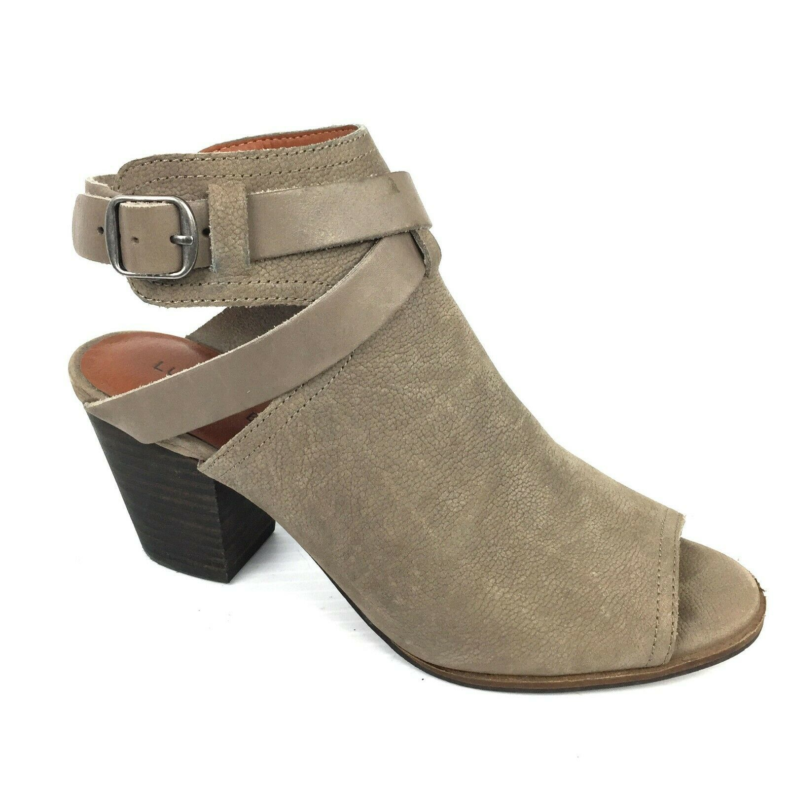 """LUCKY BRAND """"Harum"""" Taupe Bridle LeatherPeep Toe Open Back Booties Size 8 Med"""
