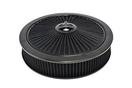 HIGH FLOW REPLACEMENT AIR CLEANER ASSEMBLY W/ FLOW-THRU LID AIR FILTER BLACK image 2