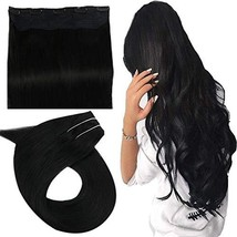 Easyouth One Piece Clip in Hair Extensions 16 Inch 80g Color Jet Black Silky Str