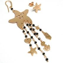 Drop Earrings 925 Silver, Starfish, Medusa, le Favole, Spinel Black image 1