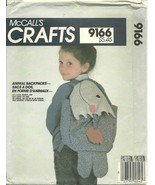 McCall's Sewing Pattern 9166 Childrens Animal Back Packs Duck Fish Beave... - $9.98