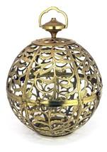 Vtg Japanese KARAKUSA Brass Oriental Orb Sphere Ball Pendant Light Mid-C... - $134.95