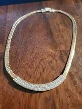 A7 Auth SWAROVSKI S.A.L. Vintage Gold Tone Crystal Rhinestones Collar Ne... - $34.65