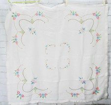 "Vintage Hand Embroidered Floral Cotton Tablecloth - 46x42"" Square - $47.52"