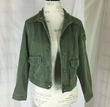 St Johns Bay Crop Jean Jacket Medium Petite OD Green Textured Denim - €8,91 EUR