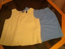 Ladies -Lot of 2- Karen Scott sport - 14 petite shorts - blue / tan top  - $4.75