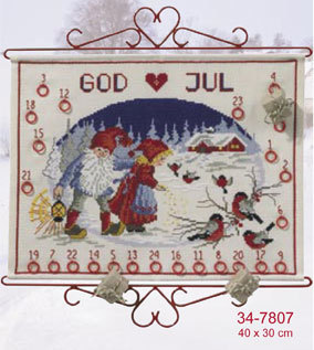 Primary image for Elf Winter Stroll Advent Calendar kit counted cross stitch Permin of Copenhagen