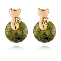 Small Cat Ear Studs   gold plated green zircon - $9.89