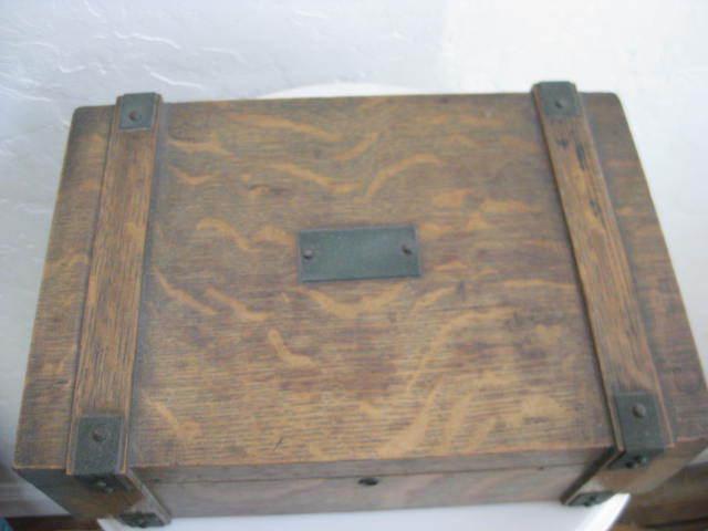Amazing Arts and Crafts Oak Wooden Box c1910