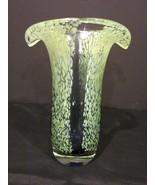 Murano Style Green & Blue Art Glass Fluted Vase - $100.00