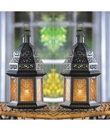 2 Moroccan Candle Lanterns Yellow Glass - $21.00