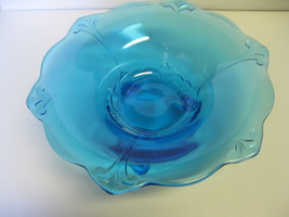 "Indiana Glass Tiara Exclusives Aqua Blue Duchess 11"" Footed Bowl Made in... - $49.99"