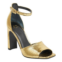 Marc Fisher Harlin Gold Leather Ankle Strap Sandals, Size 5 M - $39.59