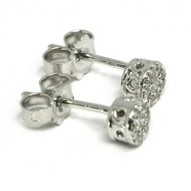 18K WHITE GOLD EARRINGS, CENTRAL AND FRAME DIAMONDS, FLOWER, 0.16 CARATS image 2