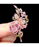 New style pink zircon rose brooch flower brooch fashion jewelry - $24.60