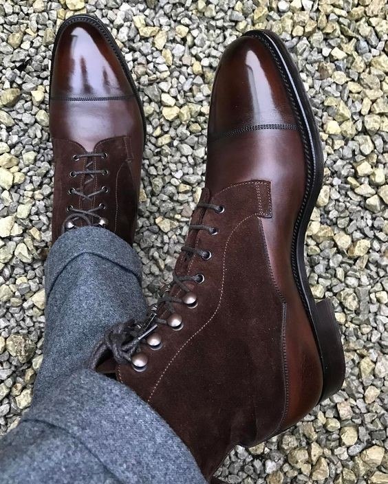 High Ankle Dark Maroon Tone Magnificiant Leather Men Lace Up Cap Toe Boots