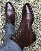 High Ankle Dark Maroon Tone Magnificiant Leather Men Lace Up Cap Toe Boots - $149.90+
