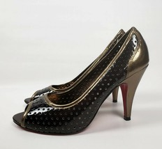 Kenneth Cole Unlisted Simply Style Brown Gold Patent Pumps Heels Womens Size 9 - $34.58