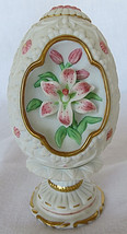 Lenox 1990 The Lily Blossom Egg Fine Porcelain w/Pedestal Hand Crafted T... - $25.00