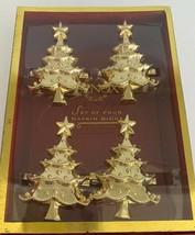 Lenox Holiday Set Of 4 Metal Gold Christmas Tree Napkin Rings New In Box - $32.66