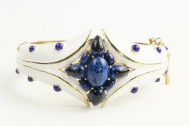 Estate Jewelry Very Rare Trifari L'orient Blue Cabochon Hinged Bangle Bracelet - $375.00