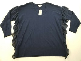 New Michael Kors Women Sweater Top MS86NLU4VG Sp 18 Navy Blue Sz Xl Msrp $110 - $39.59