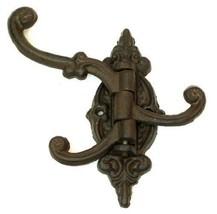 Cast Iron Vintage Wall Hook Swing Arm Swivel Hall Tree 3 Hooks Antique Victorian - $14.32