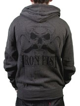 Iron Fist Mens Melcher French Rib Burnt Charcoal Hoodie Skull Moustache NWT image 2