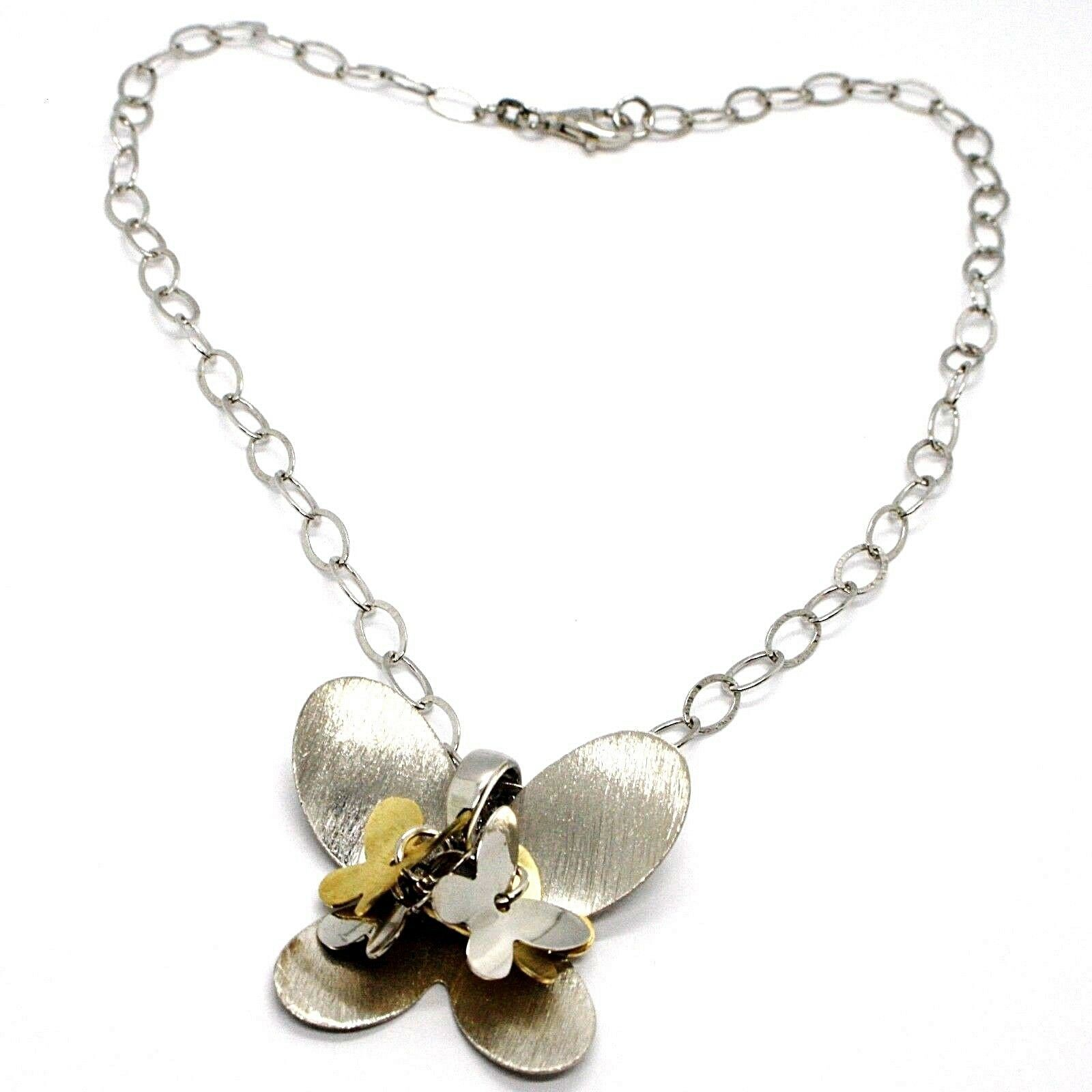 Necklace Silver 925, Chain Oval, Pendant Butterfly Big, Group Butterflies