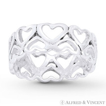 2-Row Heart Charm Love Promise 7mm Eternity Ring Solid .925 Sterling Silver Band - $29.59