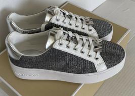 Nuevo Michael Kors Amapola Cordones Purpurina Cadena Malla Sneakers 7 Bl... - $103.29