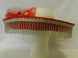 Vintage Sombrero Hat Tacky Red White Sequin Lace Bow Dangling Pearl Chandelier - $67.87