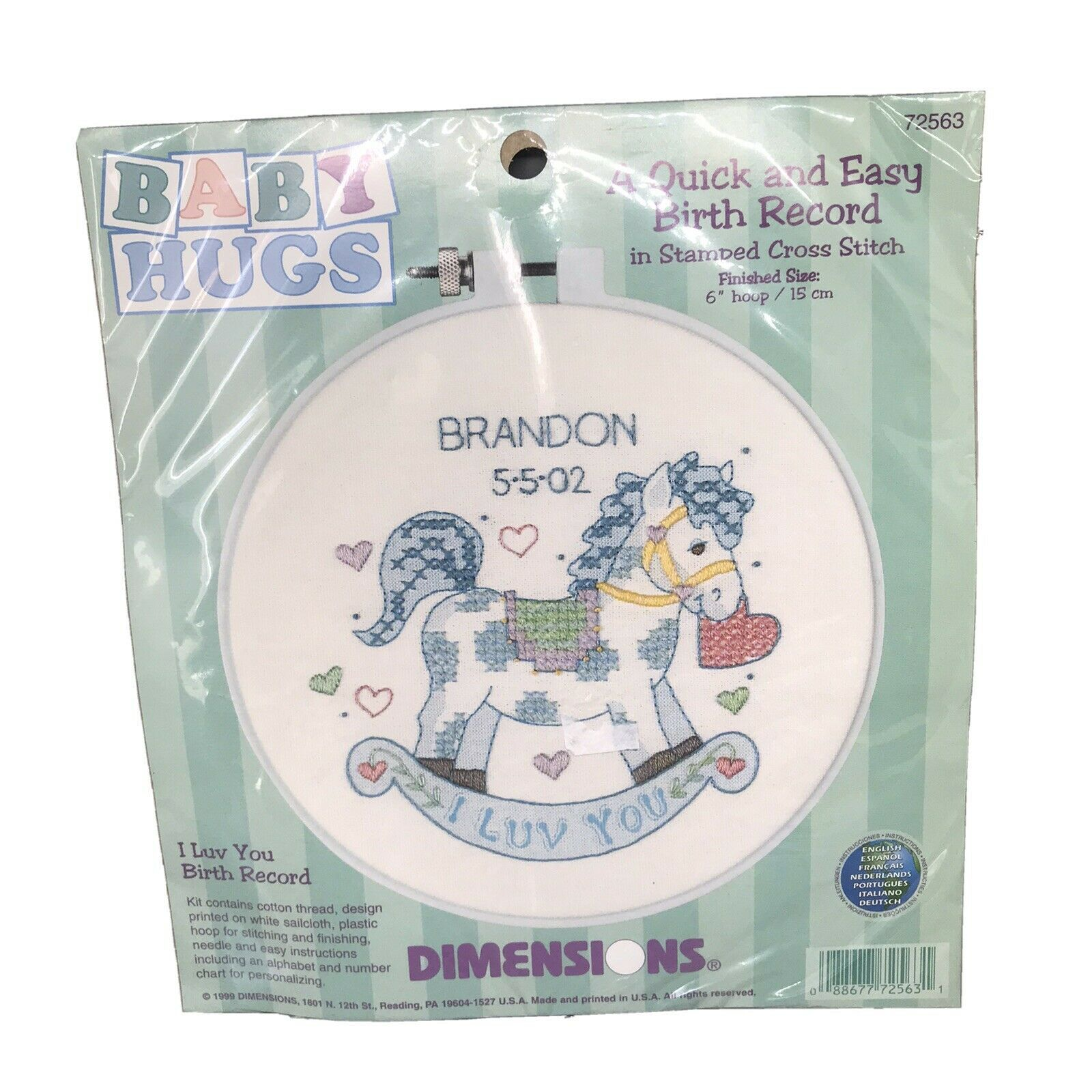 Baby Hugs Cross Stitch Birth Record Kit Rocking Horse Baby Boy NEW 6'' Hoop - $9.48