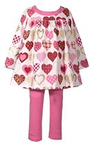 Bonnie Jean Baby Girls Valentine's Day Heart Legging Outfit 2T - $37.03